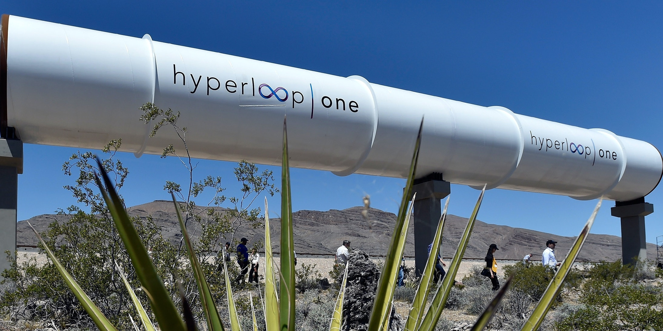 Hyperloop tube displayed during the first test of the propulsion system at the Hyperloop One Test and Safety site on May 11, 2016 in North Las Vegas, Nevada.