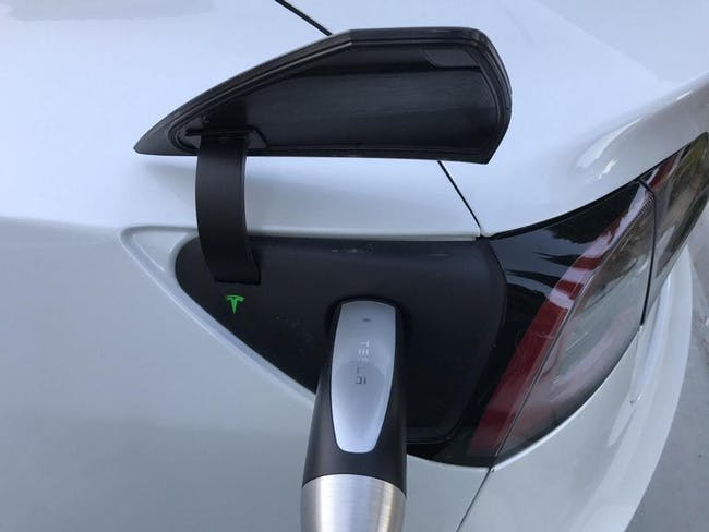 The Model 3 charging port