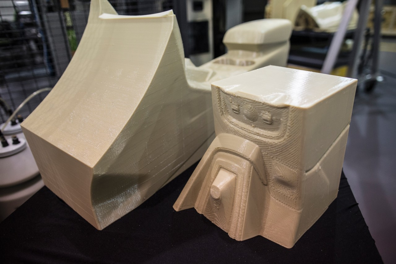 Closeup of Ford's 3D printed car parts.
