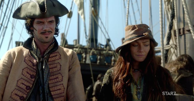 Toby Schmitz as Jack Rackham and Clara Paget as Anne Bonny in 'Black Sails'