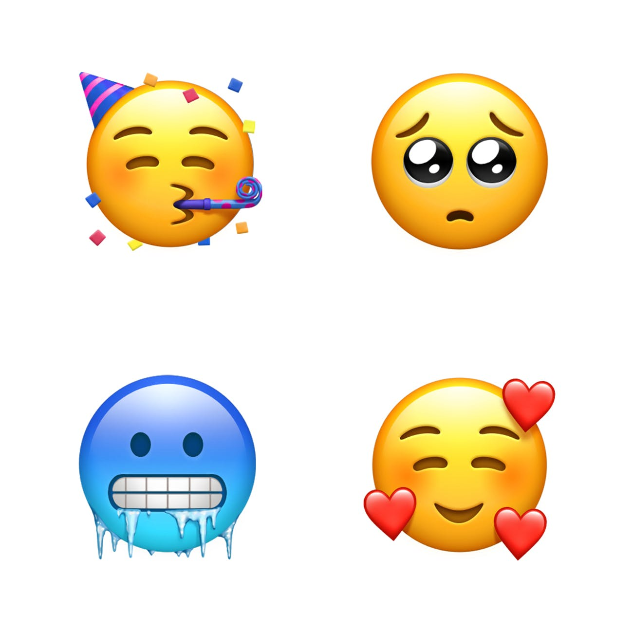 Four of the new emoji set to reach Apple's operating systems soon.