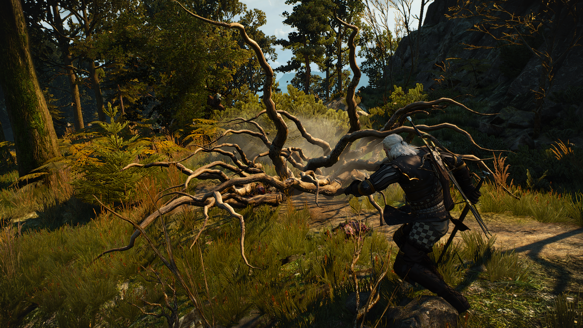 Geralt from 'The Witcher 3: Wild Hunt' killing one of many monsters placed in specific areas around the map for the sake of quest objectives.