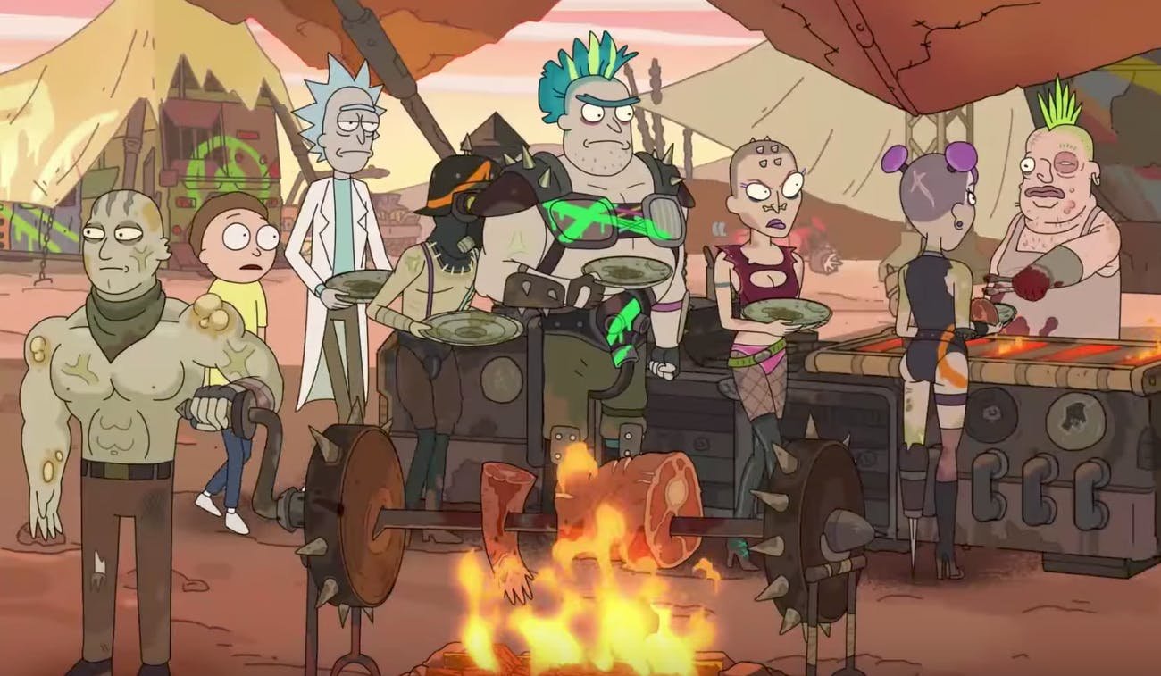 Rick and Morty make nice with the 'Mad Max' locals ... who are 100% cannibals.