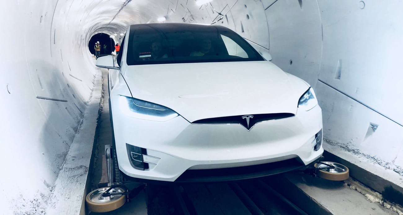 Tesla Model X boring company tunnel