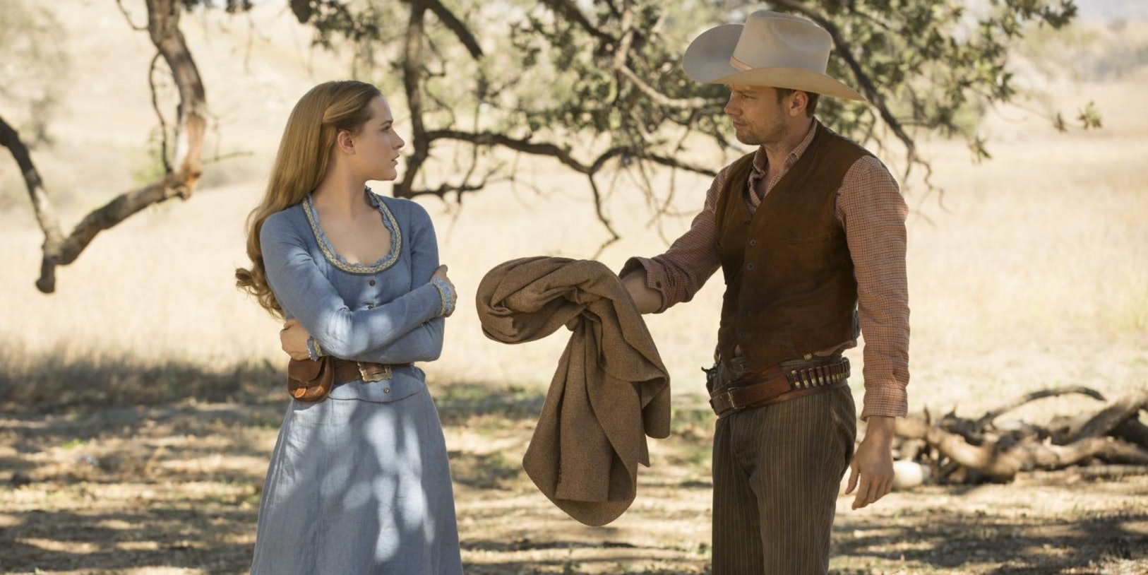 "Dolores and William in ""Westworld."""