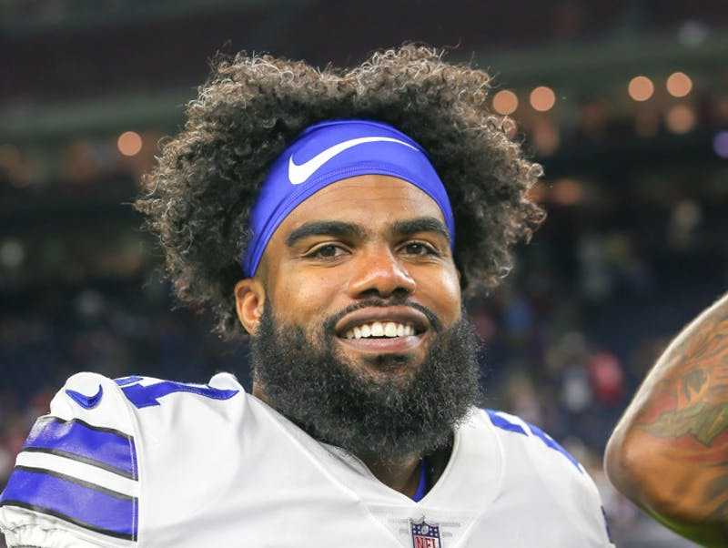 p.p1 {margin: 0.0px 0.0px 0.0px 0.0px; font: 18.0px Georgia}    Dallas Cowboys running back Ezekiel Elliott (21) chats with other players after the football game between the Dallas Cowboys and Houston Texans on August 30, 2018 at NRG Stadium in Houston, Texas.