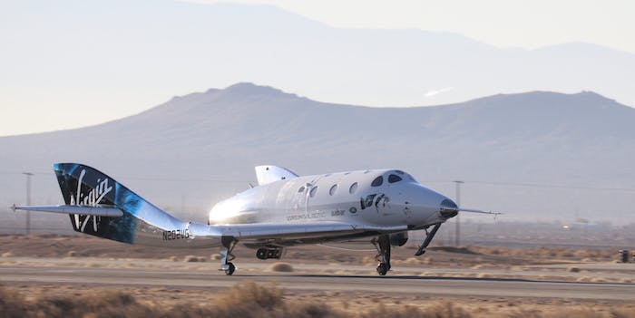 virgin galactic spaceshiptwo returns from space