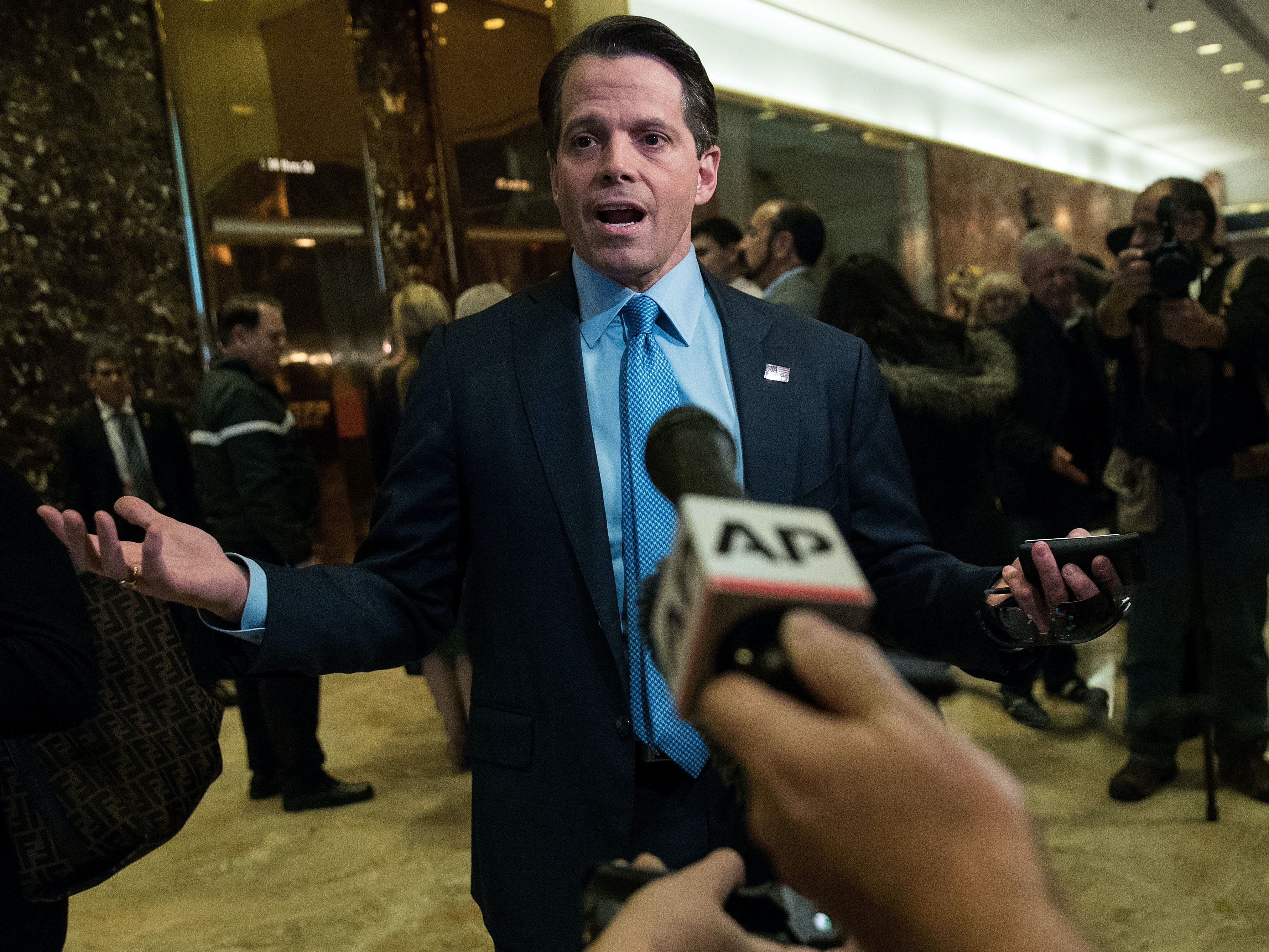 NEW YORK, NY - NOVEMBER 17: Anthony Scaramucci, a member of the transition team executive committee and founder of investment firm SkyBridge Capital, speaks to reporters at Trump Tower, November 17, 2016 in New York City.  President-elect Donald Trump and his transition team are in the process of filling cabinet and high level positions for the new administration.  (Photo by Drew Angerer/Getty Images)