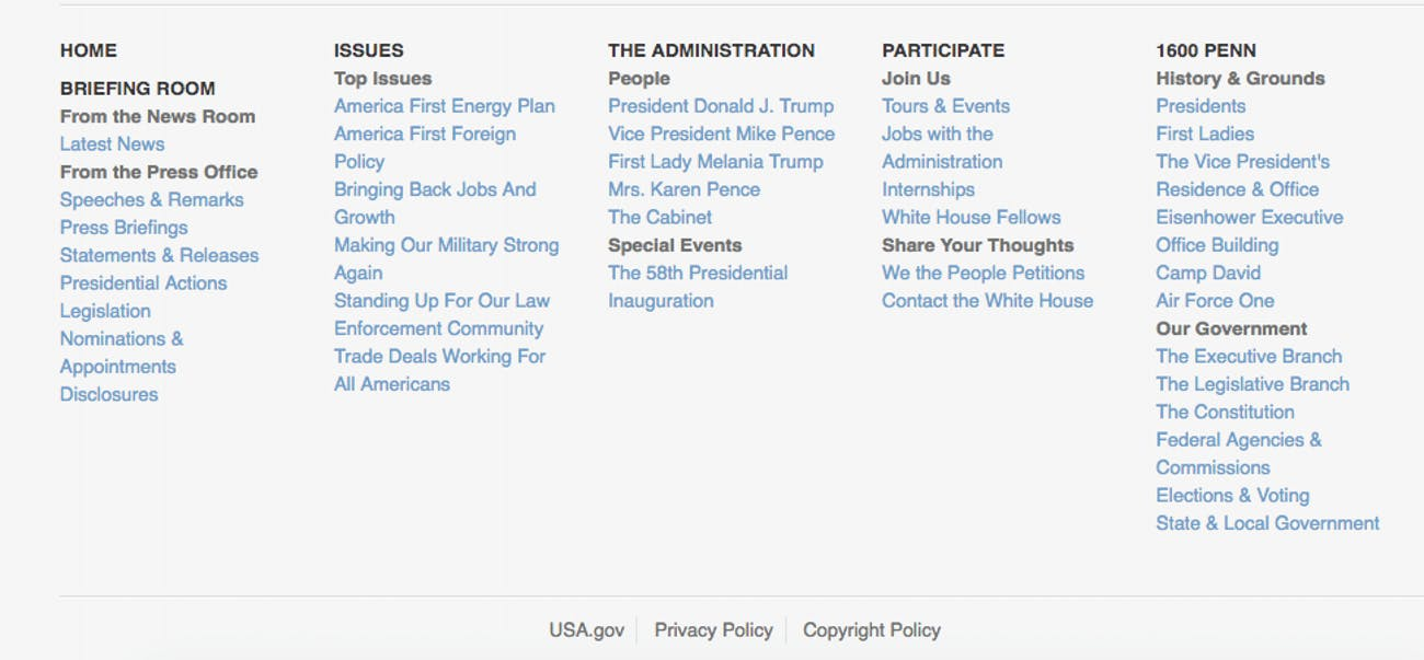 The sitemap for the Trump White House on Friday.