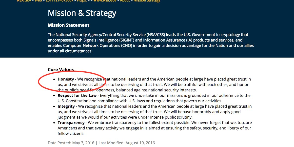 NSA, website, honesty