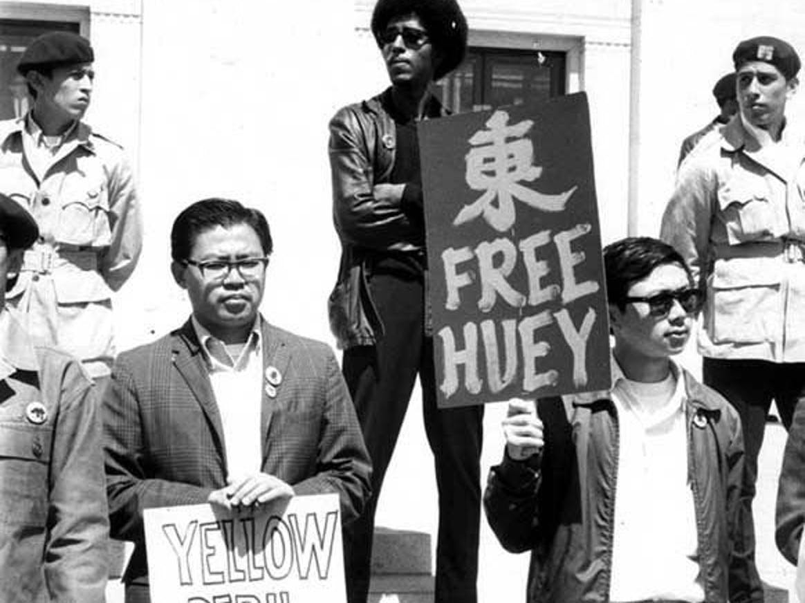 Asian American demonstrators at the Free Huey rally in Oakland 1968.
