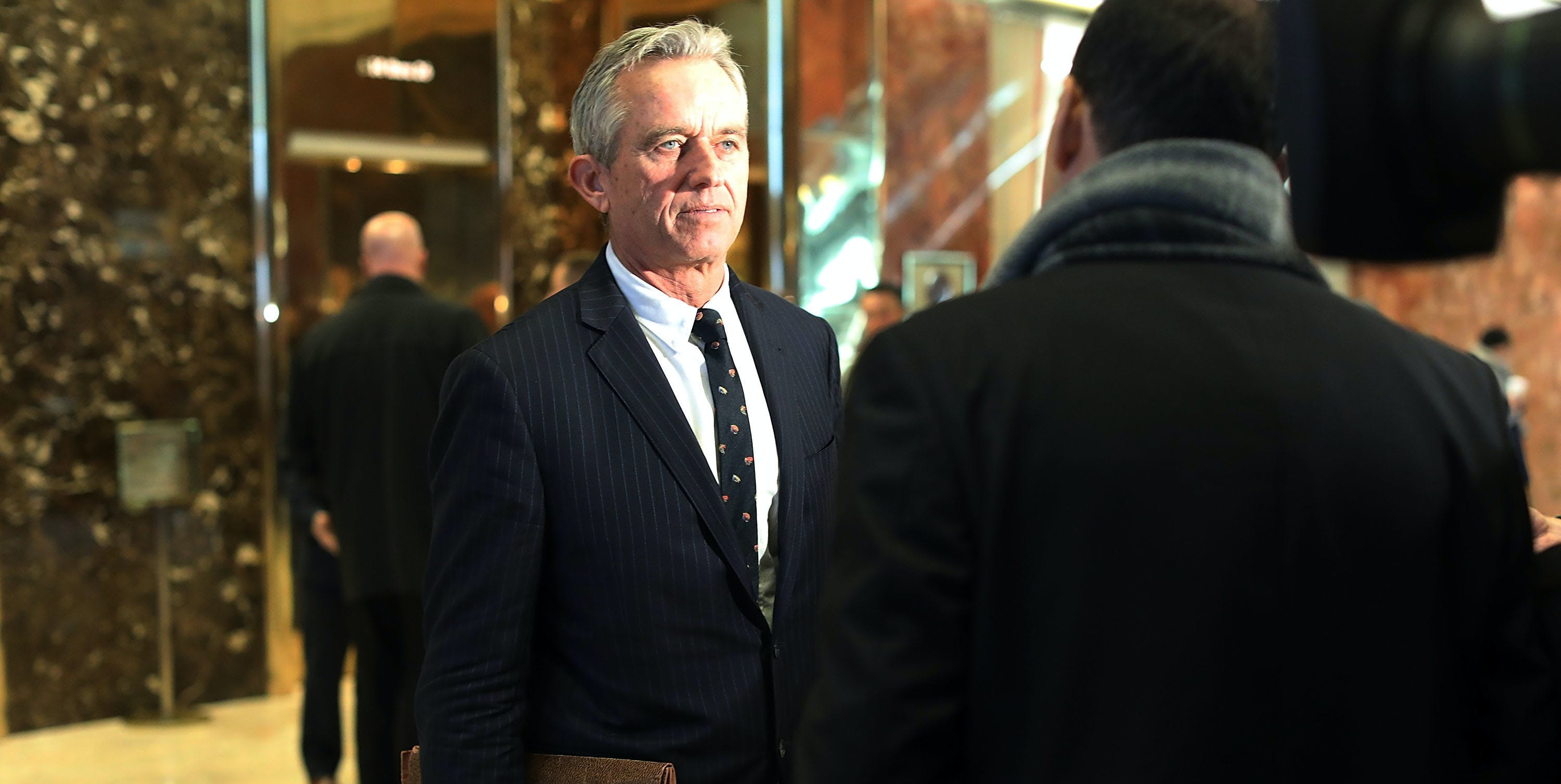 Robert Kennedy Jr., speaks to the media after his meeting at Trump Tower.