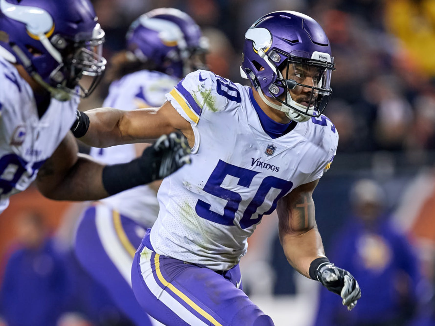 Minnesota Vikings linebacker Eric Wilson (50) runs in action during a NFL game between the Chicago Bears and the Minnesota Vikings on November 18, 2018 at Soldier Field, in Chicago, Illinois. (Photo by Robin Alam/Icon Sportswire)