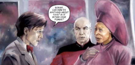 Panel from 'Doctor Who/Star Trek: The Next Generation' from IDW. Art by J. K. Woodward