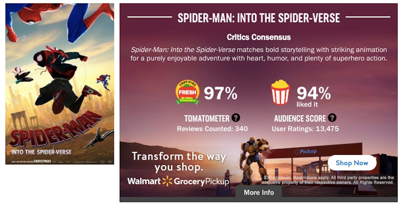 Spider-Man Spider-Verse Rotten Tomatoes