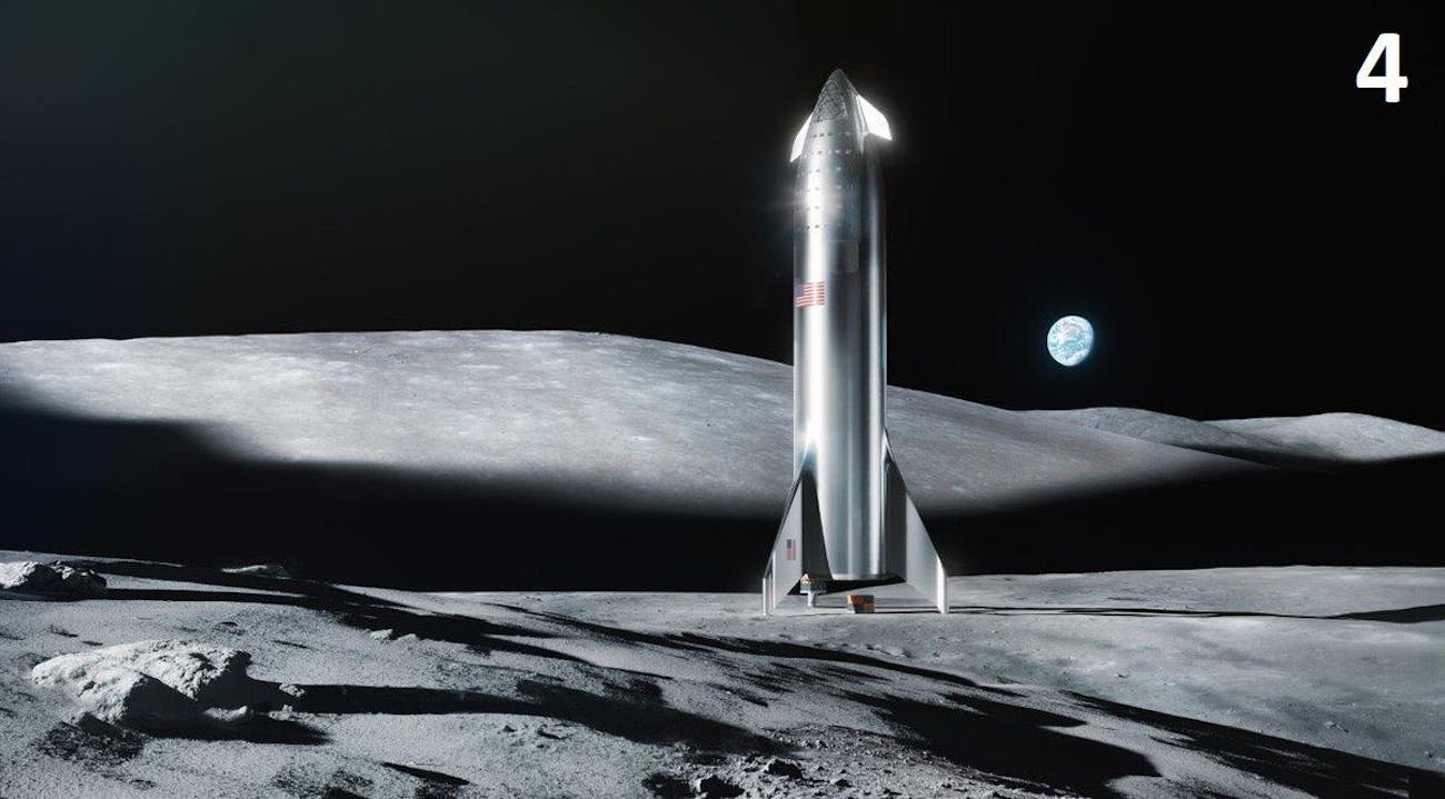 SpaceX Starship on the moon.