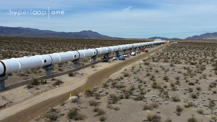 The Hyperloop One Test track in the Nevada desert.