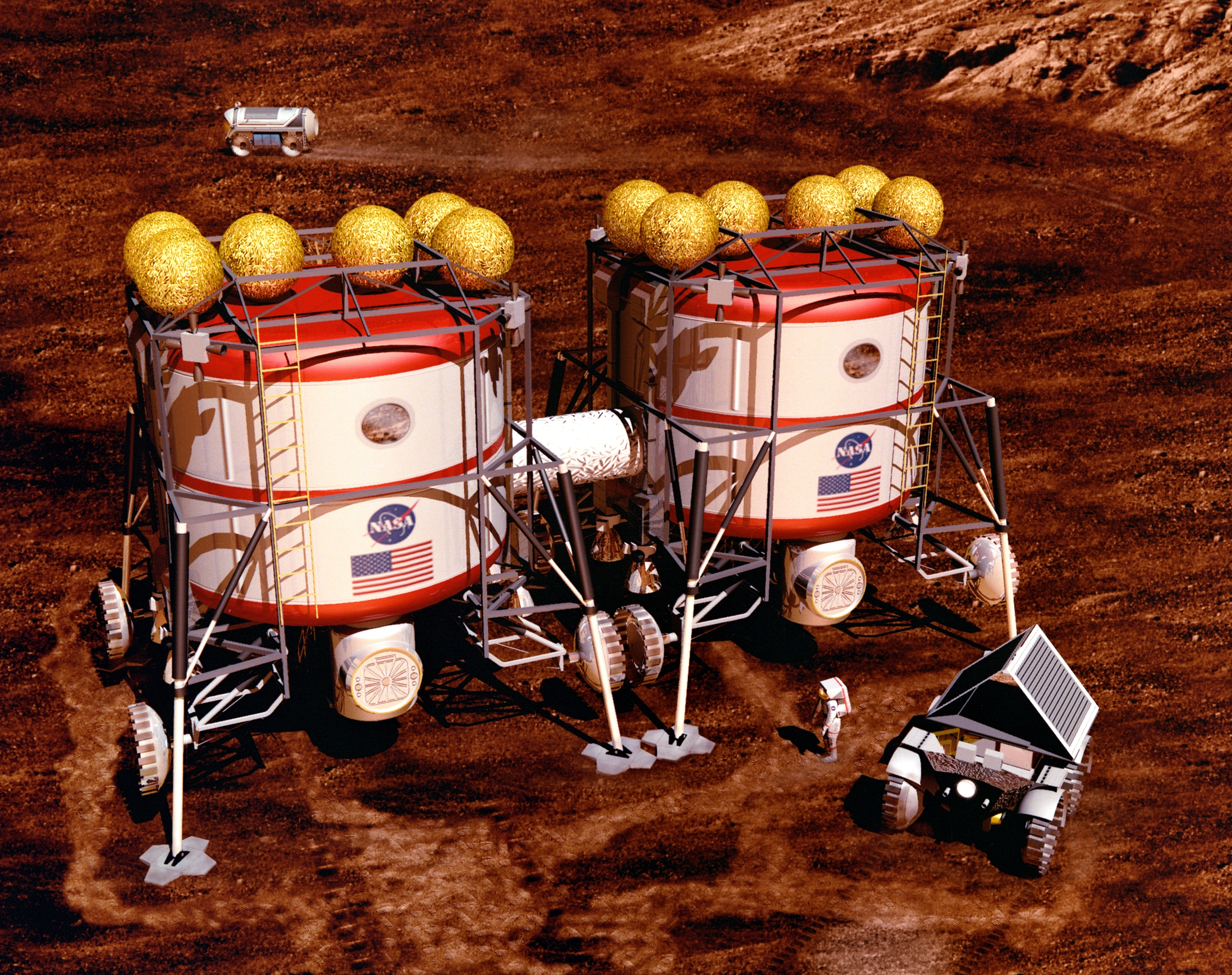 """Artist's rendering of Mars Semi-Direct/DRA 1.0: The Manned Habitat Unit is """"docked"""" alongside a pre placed habitat that was sent ahead of the Earth Return Vehicle."""