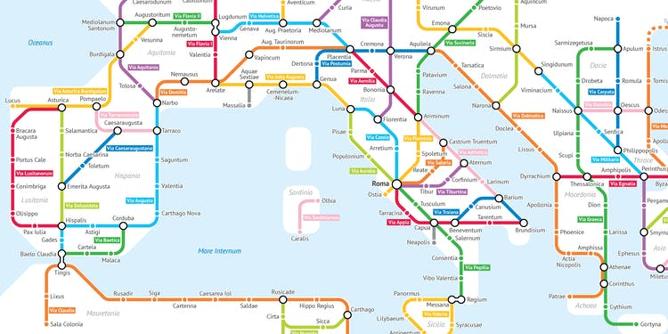 Ancient Rome Subway Map.This Cartographer Turned Roman Roads Into A Modern Subway Map Inverse