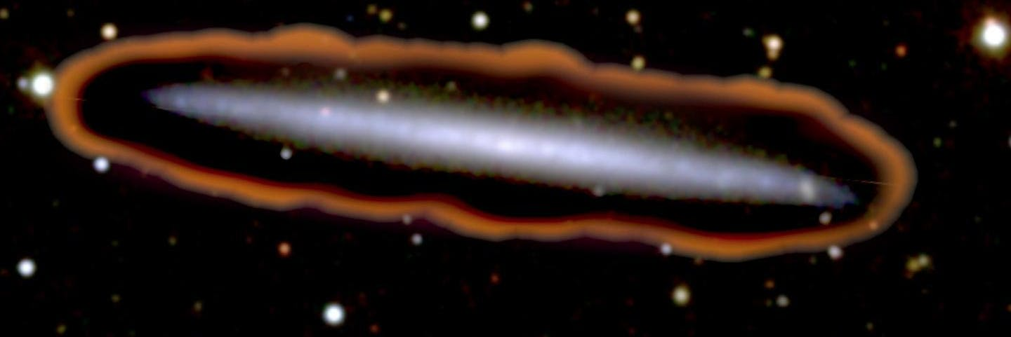 Visible red light in a nearby galaxy, which researchers use to track UV radiation.