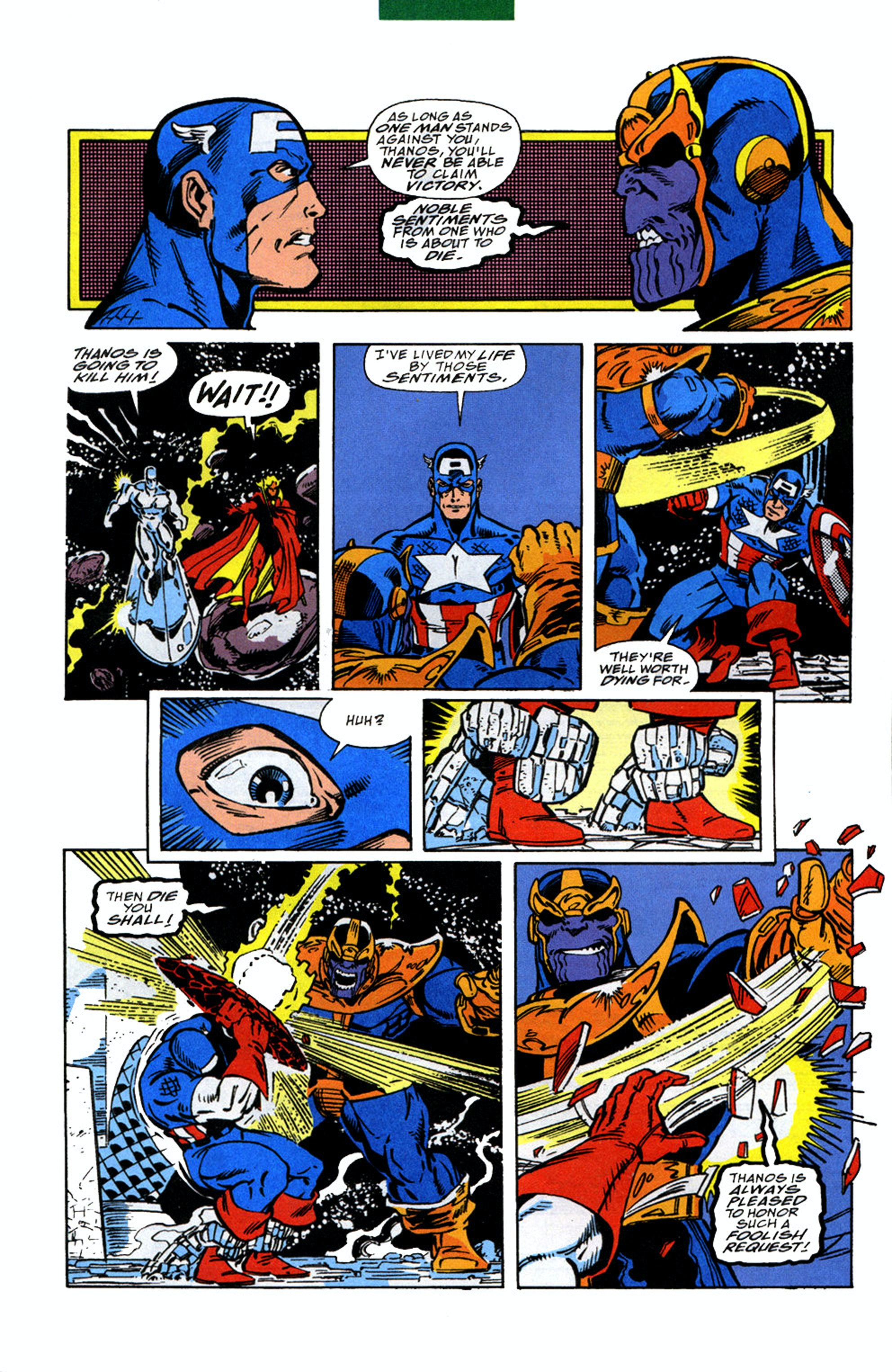 When Cap fought Thanos one-on-one in 'The Infinity Gauntlet' #4.