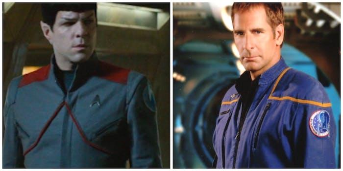 LEFT: Spock rocks a Starfleet a retro uniform. RIGHT: Captain Archer in the 2160s.