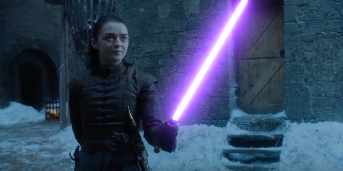 In A Game Of Thrones Star Wars Lightsaber Fight Arya Goes