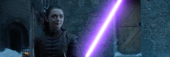 Of course Arya would wield a purple lightsaber.