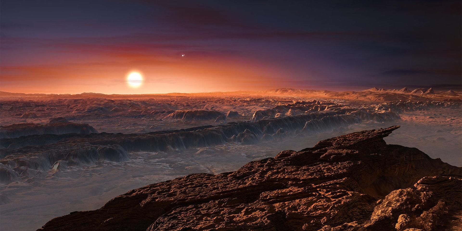 Artist's impression of Proxima b orbiting Proxima Centauri.