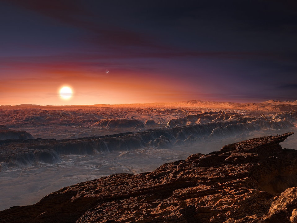 Artist's impression of Proxima b orbiting Proxima Centauri.