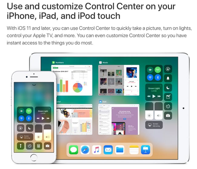 "Apple's Control Center (not ""control center"")."