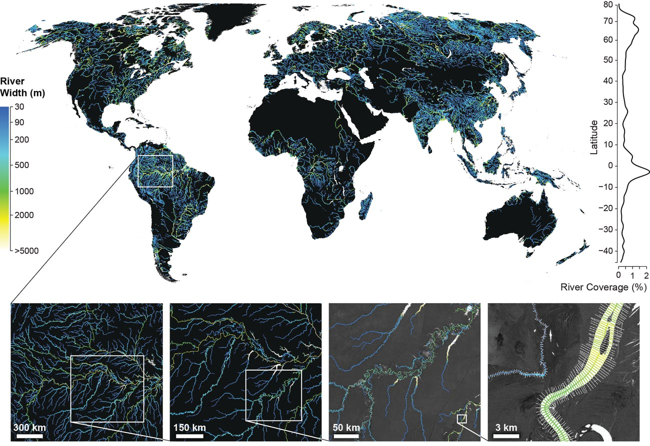rivers and streams Global River Widths from Landsat (GRWL) Database