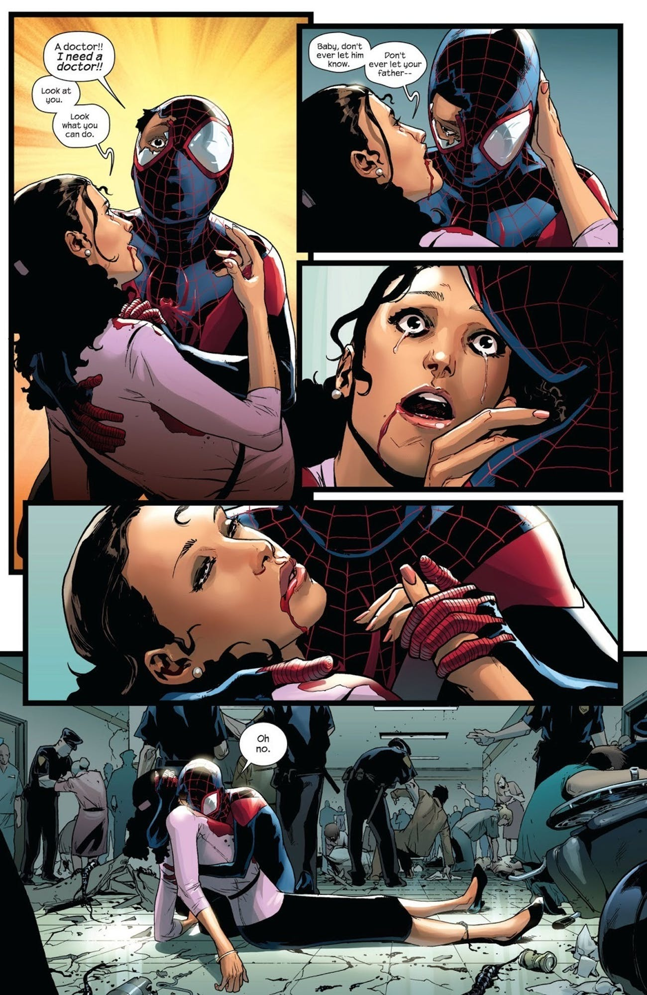 Scene of Rio's death in Ultimate Spider-Man Venom Wars