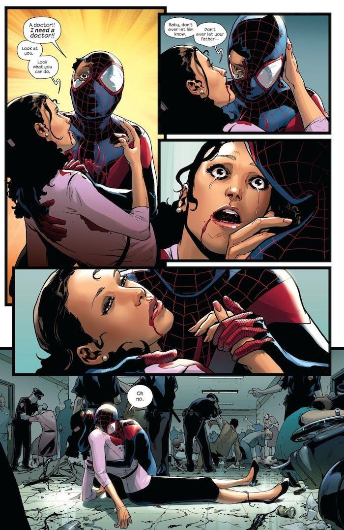 Scene of Rio's death in Ultimate Spider-Man Venom Wars