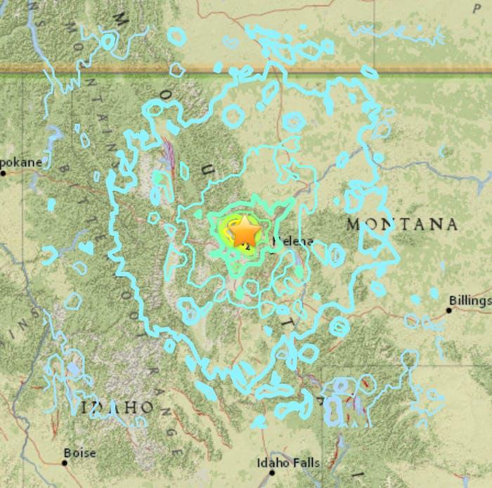 earthquake map contours lines