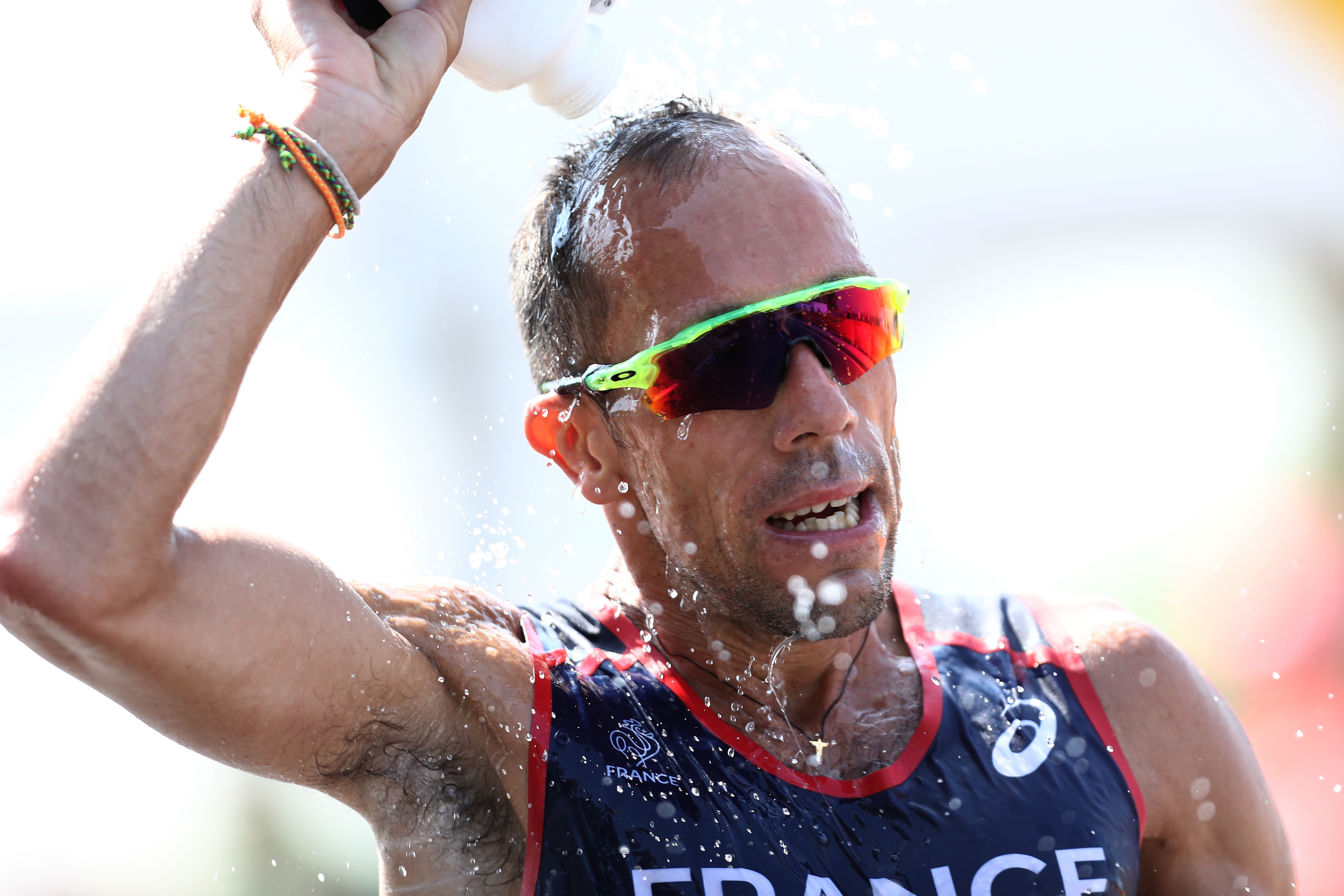 No matter what, Yohann Diniz of France wasn't going to let the heat in Rio stop him.