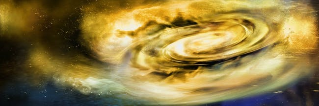 A rendition of strong winds causing an accretion disk around a black hole.
