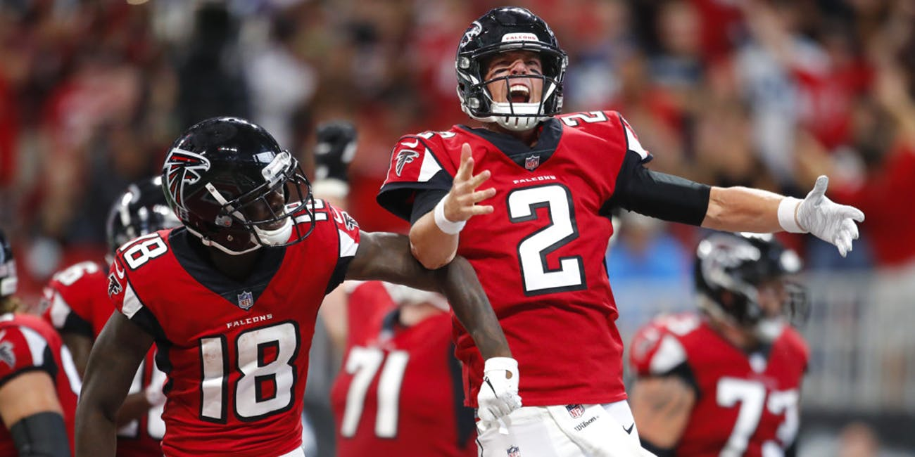 p.p1 {margin: 0.0px 0.0px 0.0px 0.0px; font: 18.0px Georgia}    Atlanta Falcons quarterback Matt Ryan (2) reacts with wide receiver Calvin Ridley (18) after a touchdown in an NFL football game between the Carolina Panthers and Atlanta Falcons on September 16, 2018 at Mercedes-Benz Stadium. The Atlanta Falcons won the game 31-24.