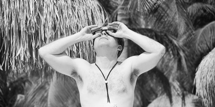 total solar eclipse david baron jay pasachoff chaser npr science aruba shirtless man shades goggles palm trees