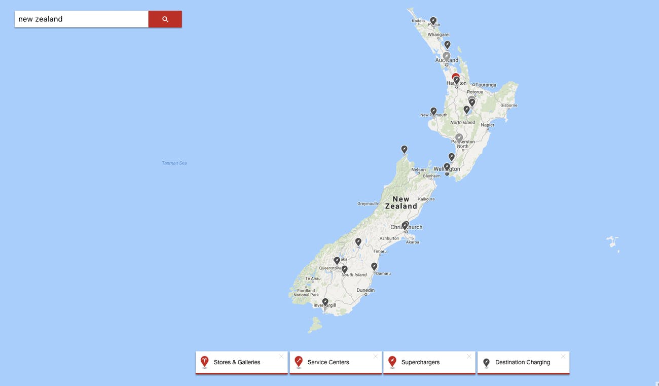 Tesla superchargers in NZ.