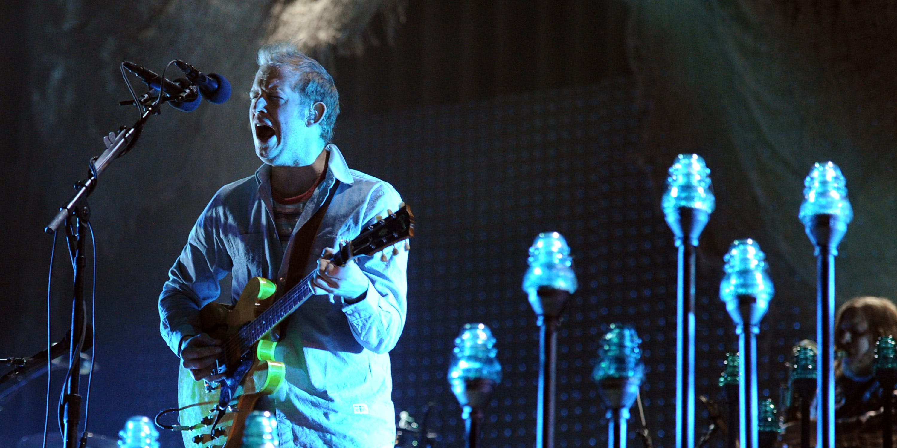 INDIO, CA - APRIL 14:  Musician Justin Vernon of Bon Iver performs onstage during day 2 of the 2012 Coachella Valley Music & Arts Festival at the Empire Polo Field on April 14, 2012 in Indio, California.  (Photo by Kevin Winter/Getty Images for Coachella)