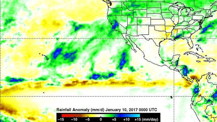 This NASA image shows rainfall anomalies for the one month period ending on January 10, 2017, with higher rainfall represented in blue.