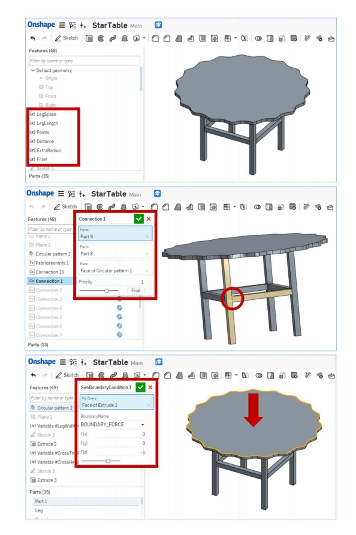 The experts use this software feature to define all of the connections on the model and those are used by AutoSaw's algorithm to automatically generate assembly instructions.