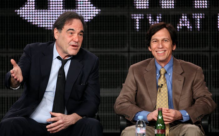 Director/writer Oliver Stone and writer professor Peter Kuznick.