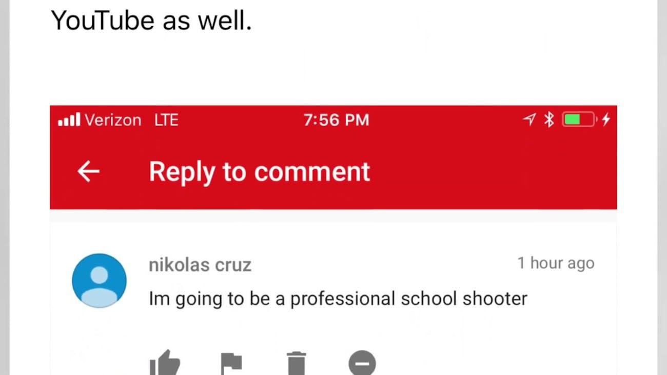 A screenshot of Cruz's comment.