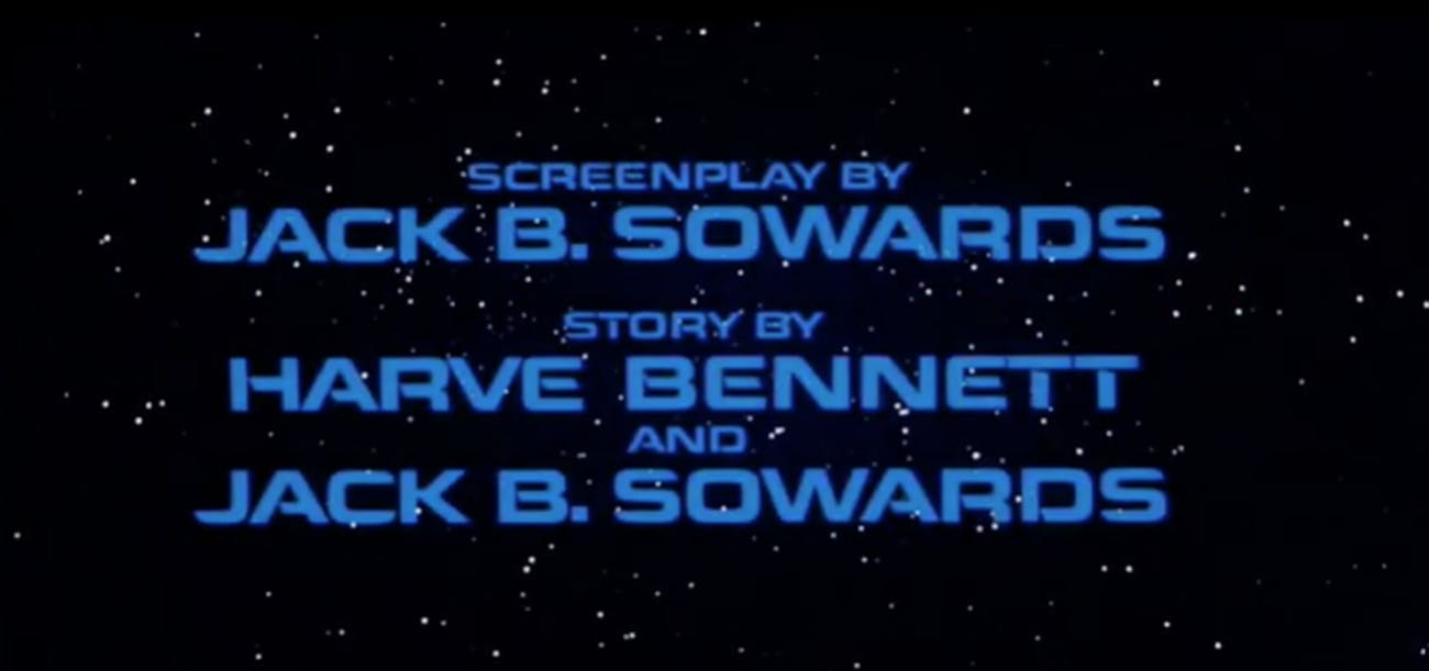Onscreen writing credits for 'Star Trek II: The Wrath of Khan.' (Not credited :the guy who wrote the movie.