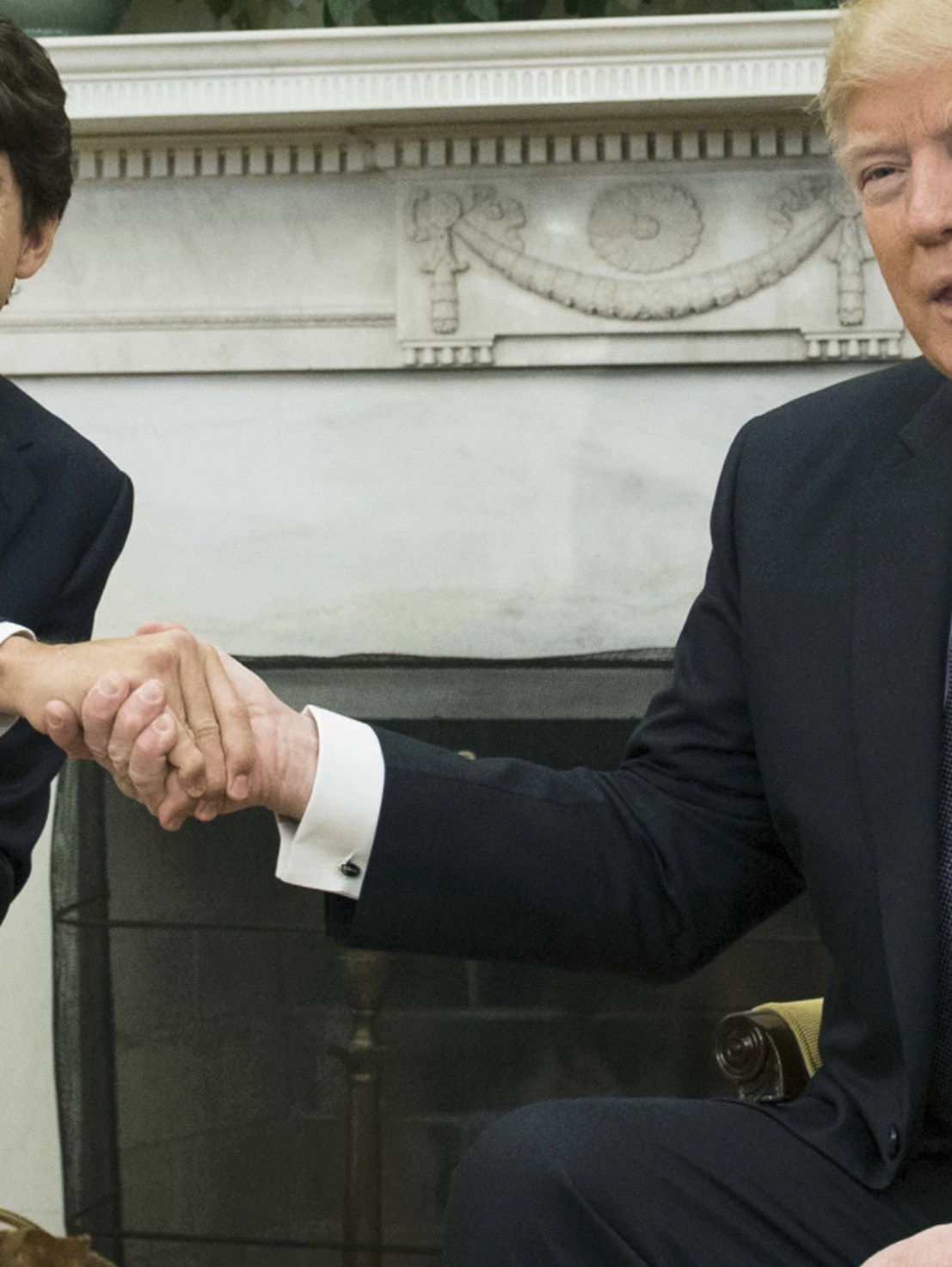Donald Trump and Justin Trudeau met for the first time and shared many awkward handshakes.