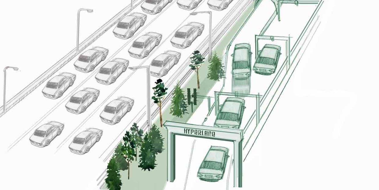 Hyperlane autonomous cars regular cars divided green highway