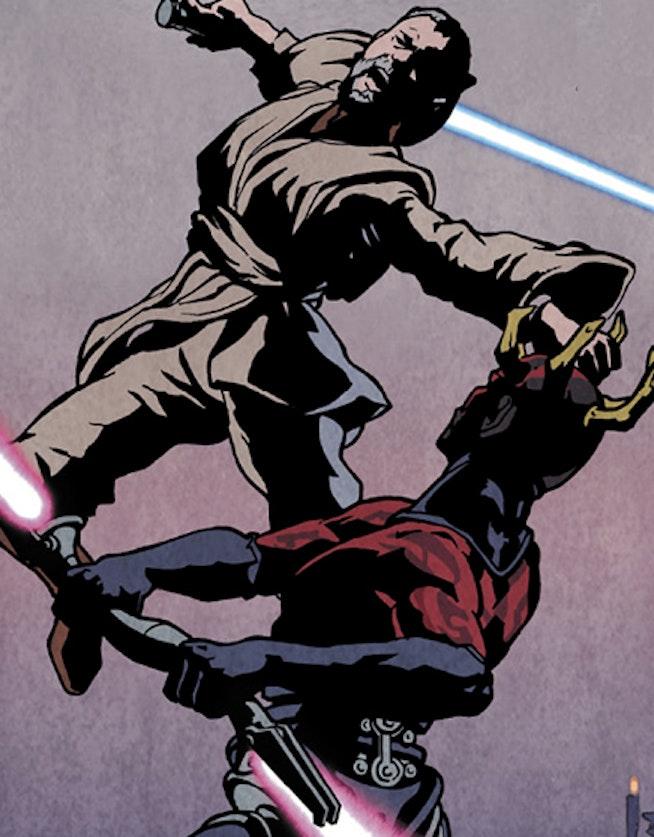 Darth Maul fights an elder Obi-Wan