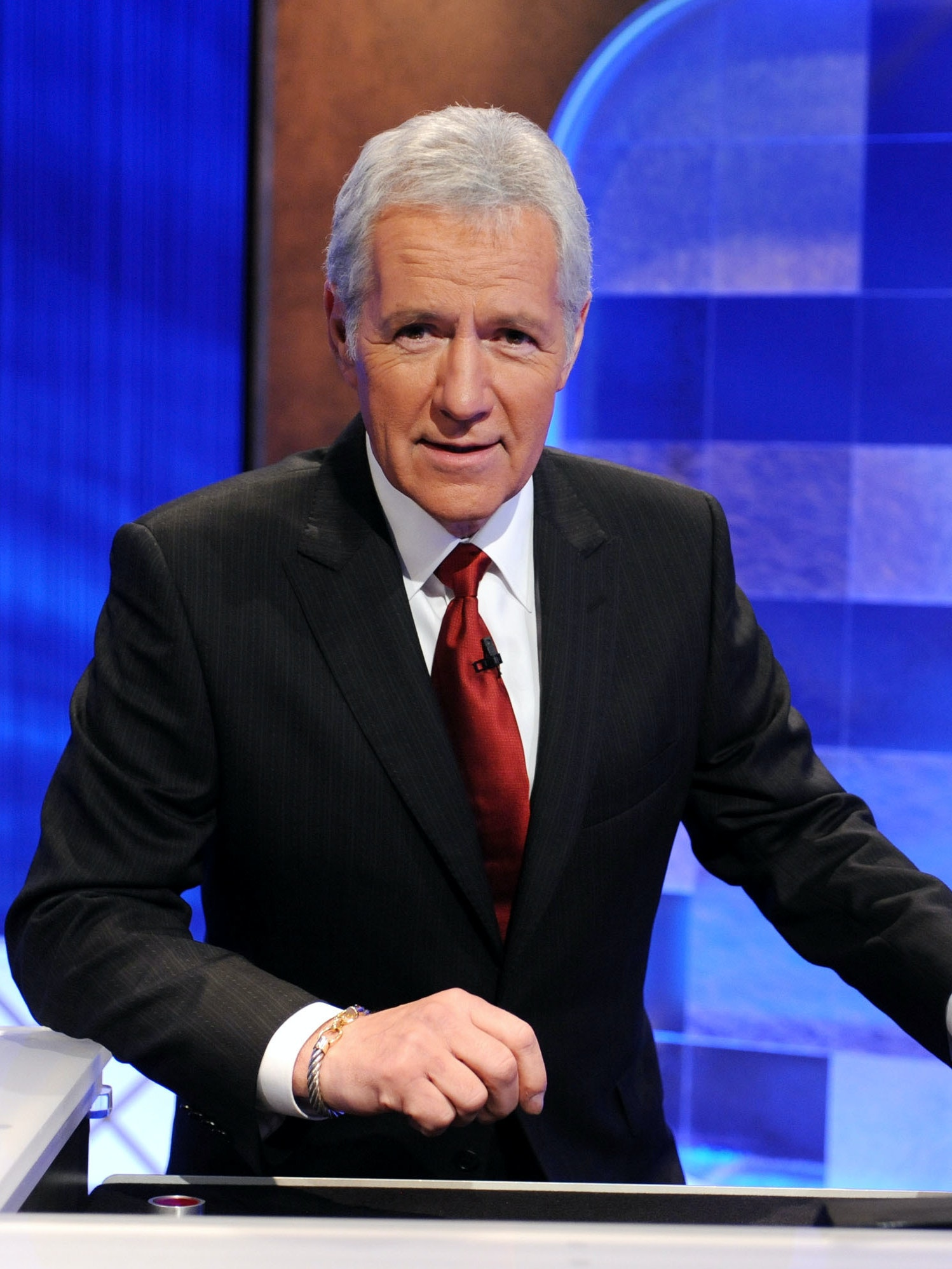 CULVER CITY, CA - APRIL 17:  Game show host Alex Trebek poses on the set of the 'Jeopardy!' Million Dollar Celebrity Invitational Tournament Show Taping on April 17, 2010 in Culver City, California.  (Photo by Amanda Edwards/Getty Images)